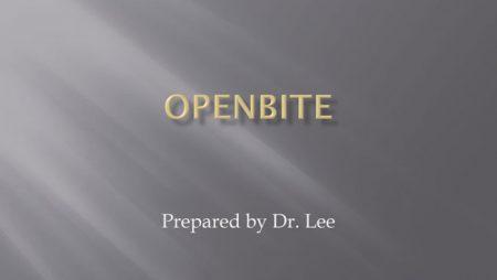 [강의 20] Seminar #7 – Dental Openbite