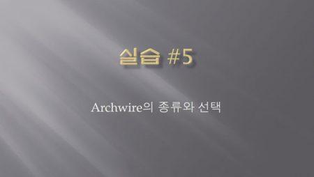[실습 5] Archwire의 종류와 선택